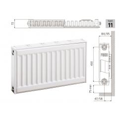 Cтальной панельный радиатор PRADO Classic  11х500х500