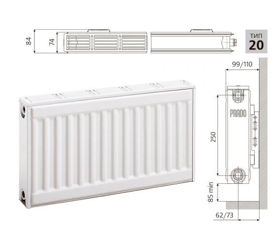 Cтальной панельный радиатор PRADO Classic   20х300х1600