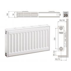 Cтальной панельный радиатор PRADO Classic  20х300х900