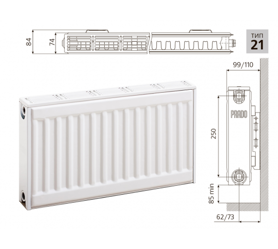 Cтальной панельный радиатор PRADO Classic 21х300х1100
