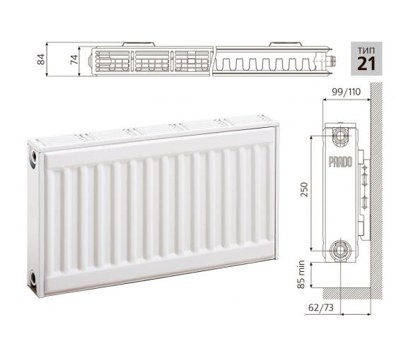 Cтальной панельный радиатор PRADO Classic  21х300х1200