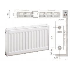 Cтальной панельный радиатор PRADO Classic  22х300х1100