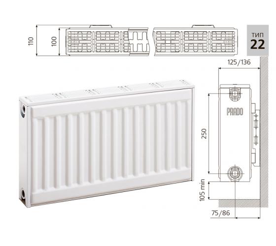 Cтальной панельный радиатор PRADO Classic   22х300х1600