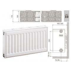 Cтальной панельный радиатор PRADO Classic  33х300х2400