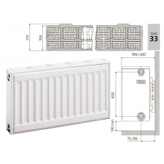 Cтальной панельный радиатор PRADO Classic  33х500х1200